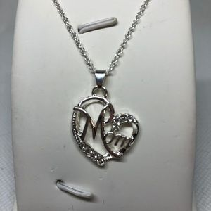 Jewelry - Crystal Accented Silver Heart Mom Pendant Necklace